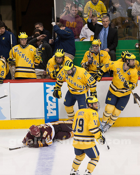 University of Michigan ice hockey 3-2 OT loss to Minnesota-Duluth in the Frozen Four championship game at Xcel Energy Center in St. Paul, MN, on April 9, 2011.