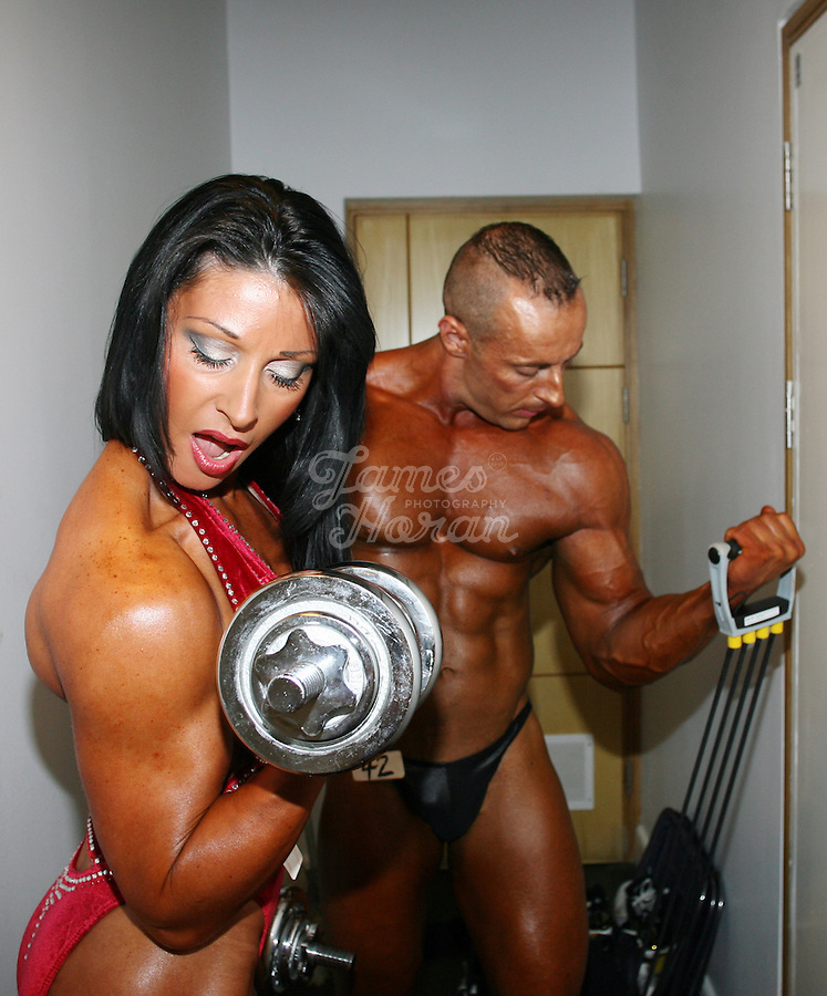 Sophia Mc Namara, Ladies Figure competitor, and her boyfriend David Cassidy, Classic Bodybuilding competitor, both from Limerick are pictured warming up at the RIBBF (Republic of Ireland Body Building Federation) National Championships held in Limerick at the Millennium Theatre, LIT.