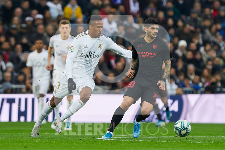 Eder Militao of Real Madrid and Ever Banega of Sevilla FC during La Liga match between Real Madrid and Sevilla FC at Santiago Bernabeu Stadium in Madrid, Spain. January 18, 2020. (ALTERPHOTOS/A. Perez Meca)