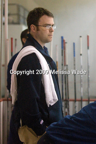 Jason Hodges (US - Trainer) - Team USA practices prior to their first game against Team Russia during the 2009 USA Hockey National Junior Evaluation Camp on Tuesday, August 11, 2009, in Lake Placid, New York.