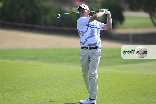 David Drysdale (SCO) on the 5th fairway during Round 4 of the Abu Dhabi HSBC Championship on Sunday 22nd January 2017.<br /> Picture:  Thos Caffrey / Golffile<br /> <br /> All photo usage must carry mandatory copyright credit     (&copy; Golffile | Thos Caffrey)