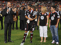 MLS Commissioner Don Garber addressing the fans at the presentation for DC United forward Jaime Moreno last game.  Toronto FC. defeated DC United 3-2 at RFK Stadium, October 23, 2010.