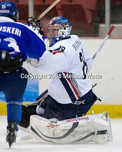 Toni Kluuskeri (Finland - 23), Brandon Maxwell (US - 29) - Team USA defeated Team Finland 3-2 to win the Four Nations Cup (Under-18 boys) on Saturday, November 9, 2008 in the 1980 Rink in Lake Placid, New York.