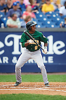 Lynchburg Hillcats center fielder Greg Allen (9) squares to bunt during a game against the Wilmington Blue Rocks on June 3, 2016 at Judy Johnson Field at Daniel S. Frawley Stadium in Wilmington, Delaware.  Lynchburg defeated Wilmington 16-11 in ten innings.  (Mike Janes/Four Seam Images)