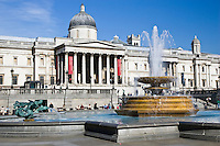 Fountains in front of National Gallery in Trafalgar Square, London, United Kingdom