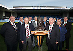 Jim Hannah, John Gilligan, Willie Johnston, Alex MacDonald, Alex Miller and Colin Stein at Ibrox Stadium with fans Bobby Smith, Jim Peddie, Katie Watt Fox and Ronnie McIntosh as they pose with the remarkable bronze bust of Rangers legend Sandy Jardine