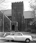 Wilkinsburg PA:  View of the Saint Stephens Episcopal Church at the corner of Pitt Street and Franklin Avenue - 1953