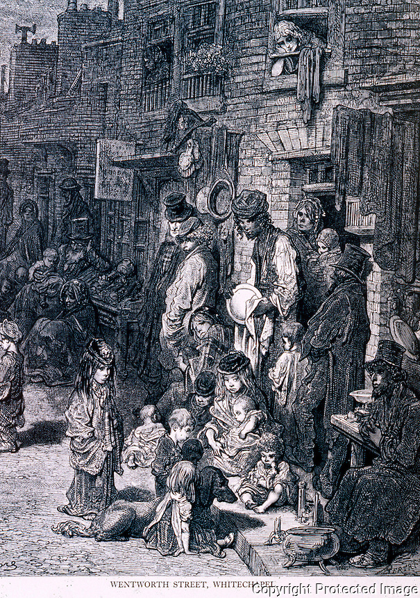 "London: Gustave Dore--""Wentworth Street, Whitechapel"", 1872.  Reference only."