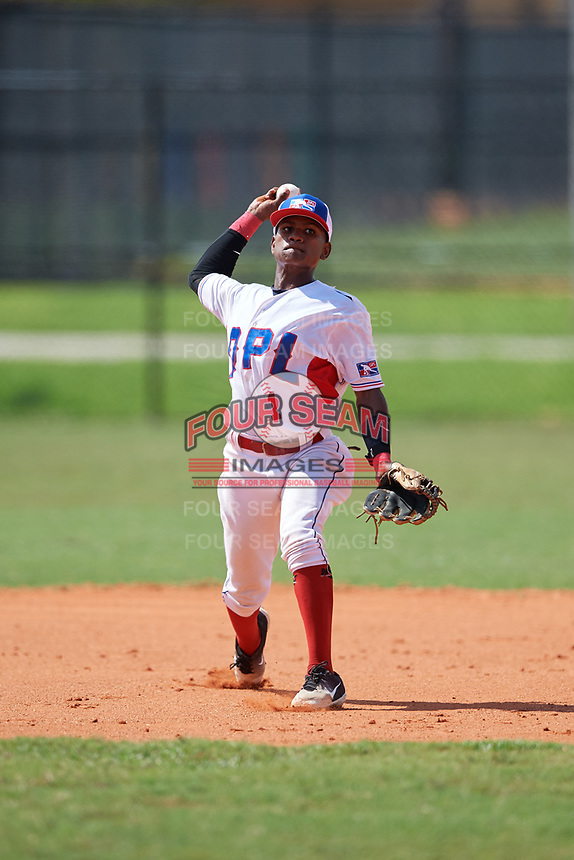 Xaviel Guillen (1) during the Dominican Prospect League Elite Florida Event at Pompano Beach Baseball Park on October 15, 2019 in Pompano beach, Florida.  (Mike Janes/Four Seam Images)