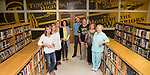 September 13, 2017- Tuscola, IL- Members of the PowWows and TCHS Alumni Association together purchased a custom window decal over windows on the south wall of the library. Those present for the photo from left are Stephanie Meinhold, Dedee Hoel, Julie Little, Bobbi Pierce, Justin Bozarth, Alan Shoemaker, Marcia Shoemaker, and Patti Waters. [Photo: Douglas Cottle]