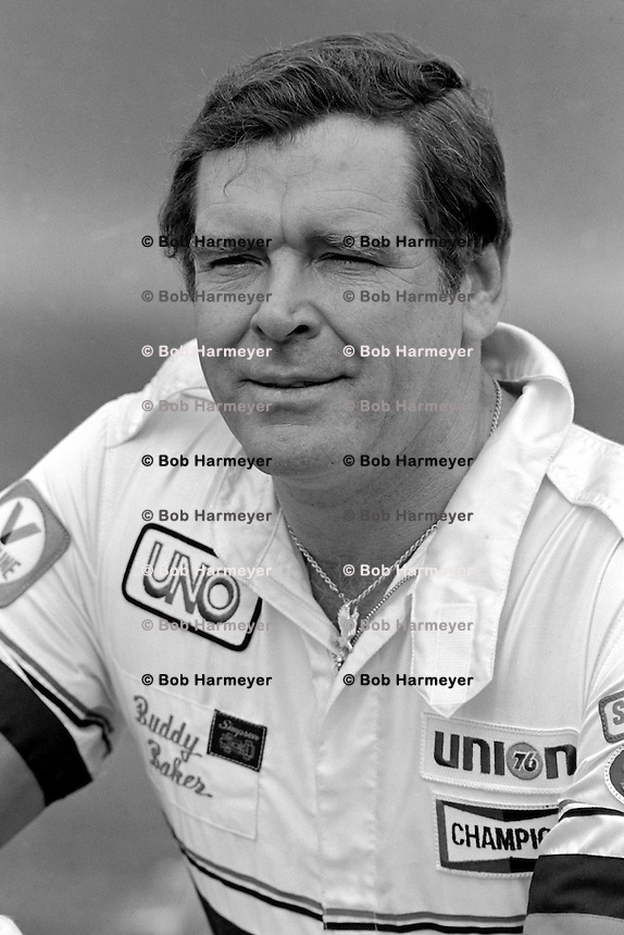 DAYTONA BEACH, FL - FEBRUARY 14: Buddy Baker pauses in the pit lane after qualifying the Hoss Ellington Buick for the Daytona 500 NASCAR Winston Cup race at the Daytona International Speedway in Daytona Beach, Florida, on February 14, 1982.