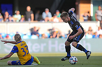 San Jose, CA - Saturday July 29, 2017: Jared Watts, Tommy Thompson during a Major League Soccer (MLS) match between the San Jose Earthquakes and Colorado Rapids at Avaya Stadium.