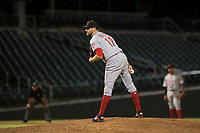Scottsdale Scorpions relief pitcher Alex Powers (17), of the Cincinnati Reds organization, looks in for the sign during an Arizona Fall League game against the Mesa Solar Sox at Sloan Park on October 10, 2018 in Mesa, Arizona. Scottsdale defeated Mesa 10-3. (Zachary Lucy/Four Seam Images)
