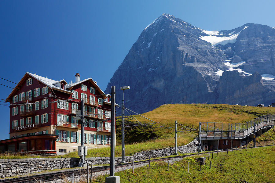 Hotel Des Alps and train tracks below the north face of the Eiger at Kleine Scheidegg, Bernese Oberland, Switzerland