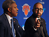 New York Knicks head coach David Fizdale, right, listens to team president Steve Mills speak during the team's 2018-19 Season Tipoff press conference in the lobby of the Hulu Theater at Madison Square Garden on Thursday, Sept. 20, 2018. Sitting alongside him are team president Steve Mills, left, and general manager Scott Perry.