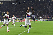 2nd November 2017, Nice, France; EUFA Europa League, Olympique Lyonnais versus Everton;  Joie de Bertrand Traore (lyon) celebrates as he scores the nights first goal for 1-0 with Memphis Depay