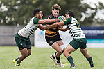 Tim Cossens gets taken in a double tackle by Timothy Tuefu and Gene Te Amo. Counties Manukau Premier Counties Power Club Rugby Round 4 game between Bombay and Manurewa, played at Bombay on Saturday March 31st 2018. <br /> Manurewa won the game 25 - 17 after trailing 15 - 17 at halftime.<br /> Bombay 17 - Ki Anufe, Chay Macwood tries, Tim Cossens, Ki Anufe conversions,  Ki Anufe penalty. <br /> Manurewa Kidd Contracting 25 - Peter White 2 , Willie Tuala 2 tries, James Faiva conversion,  James Faiva penalty.<br /> Photo by Richard Spranger.