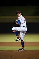 Scottsdale Scorpions relief pitcher Stephen Nogosek (29), of the New York Mets organization, delivers a pitch during an Arizona Fall League game against the Mesa Solar Sox on October 9, 2018 at Scottsdale Stadium in Scottsdale, Arizona. The Solar Sox defeated the Scorpions 4-3. (Zachary Lucy/Four Seam Images)