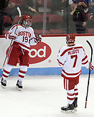 Clayton Keller (BU - 19), Charlie McAvoy (BU - 7) - The visiting Merrimack College Warriors defeated the Boston University Terriers 4-1 to complete a regular season sweep on Friday, January 27, 2017, at Agganis Arena in Boston, Massachusetts.The visiting Merrimack College Warriors defeated the Boston University Terriers 4-1 to complete a regular season sweep on Friday, January 27, 2017, at Agganis Arena in Boston, Massachusetts.