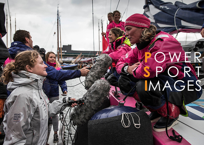 Team Vestas Wind & Team SCA heading towards the Scheveningen Harbour for a 24-hours pit stop of the Volvo Ocean Race Leg 9 Lorient - Gothenburg on June 19, 2015 in The Hague, Netherlands. Photo by Victor Fraile / Power Sport Images