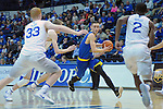 January 14, 2017:  San Jose State forward, Ryan Welage #32, battles through Falcon defenders during the NCAA basketball game between the San Jose State Spartans and the Air Force Academy Falcons, Clune Arena, U.S. Air Force Academy, Colorado Springs, Colorado.  San Jose State defeats Air Force 89-85.