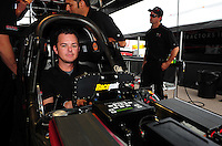 Mar. 9, 2012; Gainesville, FL, USA; NHRA top fuel dragster driver Steve Torrence during qualifying for the Gatornationals at Auto Plus Raceway at Gainesville. Mandatory Credit: Mark J. Rebilas-