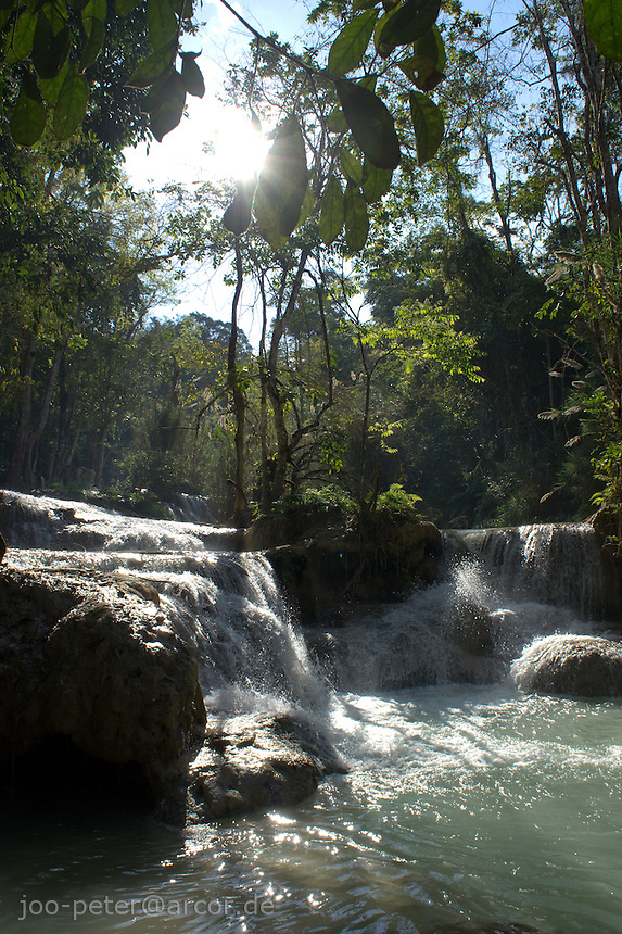 Khuang Si  waterfall  in forest close to Luang Prabang, Laos, 2012