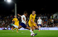 Nikita Parris of England takes a shot on goal during the Women's International friendly match between England Women and Australia at Ashton Gate, Bristol, England on 9 October 2018. Photo by Bradley Collyer / PRiME Media Images.