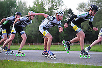 INLINE-SKATEN: STEENWIJK: Gagelsweg (start/finish), Schansweg, Meppelerweg, KPN Inline Cup, Klim van Steenwijk, 02-05-2012, Bart Swings #61), Sjoerd Huisman (#24), Bart Mol (#46), Ferre Spruyt  (#142), ©foto Martin de Jong