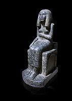 Ancient Egyptian statue of princess Redji, grandorite, Saqqara, Old Kingdom, 3rd Dynasty (2592-2543 BC). Egyptian Museum, Turin. black background.<br /> <br /> The inscriptions at the base of the statue indicates that the statue is of the Kings Daughter named Redji. Never intended as a faithful depiction of the deceased , the statue was placed in the tomb to substitute for the deceased. The statue is in the typical rigid style of the old kingdom with a voluminous wig.