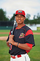 Batavia Muckdogs Jhonny Santos (13) poses for a photo before a game against the Tri-City ValleyCats on July 15, 2017 at Dwyer Stadium in Batavia, New York.  Tri-City defeated Batavia 5-4.  (Mike Janes/Four Seam Images)