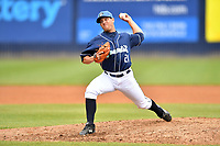 Asheville Tourists pitcher Nick Kennedy (21) delivers a pitch during game one of a double header against the West Virginia Power at McCormick Field on April 20, 2019 in Asheville, North Carolina. The Tourists defeated the Power 12-7. (Tony Farlow/Four Seam Images)