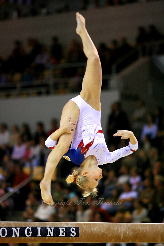Oct 18, 2006; Aarhus, Denmark; Svetlana Klyukina of Russia performs on balance beam during women's team final competition at 2006 World Championships Artistic Gymnastics.