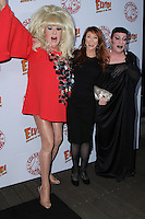 HOLLYWOOD, CA - OCTOBER 18: Lady Bunny, Cassandra Peterson, Joey Arias attends the launch party for Cassandra Peterson's new book 'Elvira, Mistress Of The Dark' at the Hollywood Roosevelt Hotel on October 18, 2016 in Hollywood, California. (Credit: Parisa Afsahi/MediaPunch).
