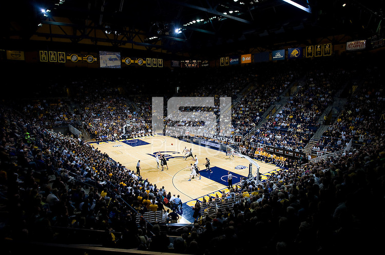 A wide angle shot of the crowd during the game between California Golden Bears and Colorado Buffaloes at Haas Pavilion in Berkeley, California on March 2nd, 2013.  California defeated Colorado Buffaloes, 62-46.