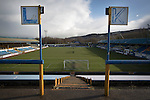 Signs indicating the rows 'K' and 'L' on the traditional away end of the stadium, pictured before Greenock Morton take on Stranraer in a Scottish League One match at Cappielow Park, Greenock. The match was between the top two teams in Scotland's third tier, with Morton winning by two goals to nil. The attendance was 1,921, above average for Morton's games during the 2014-15 season so far.