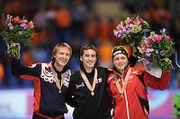 SCHAATSEN: HEERENVEEN: Thialf, Essent ISU World Single Distances Championships 2012, Podium 1500m, Ivan Skobrev (RUS), Denny Morrison (CAN), Håvard Bøkko (NOR), ©foto Martin de Jong