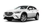 Stock pictures of low aggressive front three quarter view of 2015 Mazda CX-5 Skycruise 5 Door Suv Low Aggressive