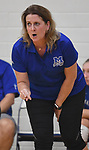 Marquette coach Sue Heinz gives advice to her team. Jerseyville played at Alton Marquette in a girls volleyball game on Wednesday September 11, 2018.<br /> Tim Vizer/Special to STLhighschoolsports.com