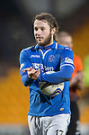 St Johnstone v Dundee United.....29.12.13   SPFL<br /> Stevie May applauds the fans as he walks off the pitch with the match ball at full time<br /> Picture by Graeme Hart.<br /> Copyright Perthshire Picture Agency<br /> Tel: 01738 623350  Mobile: 07990 594431