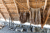 A traditional thatched hale (house or structure) with traditional implements and more at Pu'uhonua o Honaunau, Big Island.