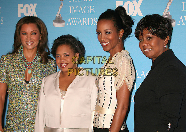 VANESSA L. WILLIAMS, CHANDRA WILSON, SHAUN ROBINSON & CLAYOLA BROWN.38th Annual NAACP Image Awards Nominees Press Conference at the Peninsula Beverly Hills Hotel, Beverly Hills, California, USA..January 9th, 2007.half length green pattern dress black white beige cream top jacket .CAP/ADM/BP.©Byron Purvis/AdMedia/Capital Pictures