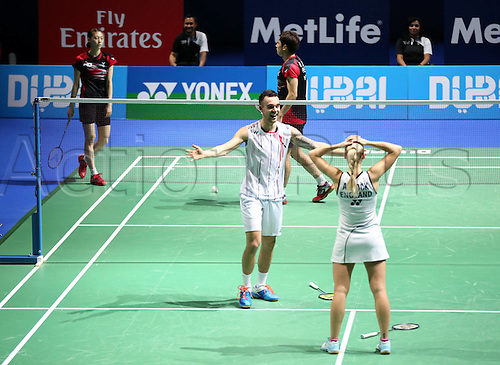 13.12.2015. Dubai, UAE.  Englands Chris Adcock (2nd R) and Gabrielle Adcock (R) celebrate after winning the mixed doubles final at the Dubai World Superseries Finals badminton tournament in Dubai, the United Arab Emirates, Dec. 13, 2015. Englands Adcock and Adcock beat South Koreas Ko Sung Hyun and Kim Ha Na in the final by 2-0 and claimed the title of the event.