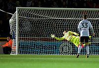 Lucas Piazon of Fulham (out of shot) beats Goalkeeper Scott Brown of Wycombe Wanderers to score the opening goal during the Carabao Cup match between Wycombe Wanderers and Fulham at Adams Park, High Wycombe, England on 8 August 2017. Photo by Alan  Stanford / PRiME Media Images.