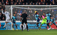 Scott Cuthbert of Luton Town scores during the Sky Bet League 2 match between Wycombe Wanderers and Luton Town at Adams Park, High Wycombe, England on the 21st January 2017. Photo by Liam McAvoy.