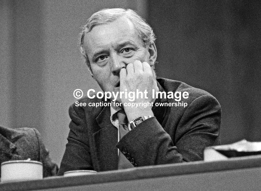 Tony Benn, aka Anthony Wedgwood Benn, MP, former government minister, Labour Party, UK, on platform during annual conference September 1982. 19820900140TB2.<br />