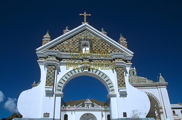 Archway, Virgin of Copacabana Church, Copacabana, Lake Titicaca, Bolivia
