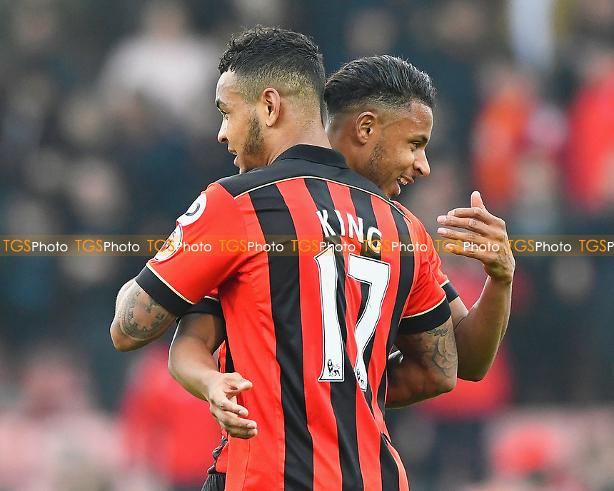 Joshua King of AFC Bournemouth embraces Lys Mousset of AFC Bournemouth at the final whistle  during AFC Bournemouth vs West Ham United, Premier League Football at the Vitality Stadium on 11th March 2017