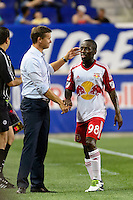 Harrison, NJ - Wednesday July 06, 2016: Jesse Marsch, Shaun Wright-Phillips during a friendly match between the New York Red Bulls and Club America at Red Bull Arena.