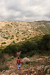 Israel, Carmel. The descent from Etzba cave in Wadi Oren